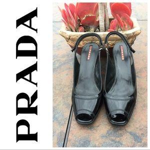 PRADA Black Patent Leather Peep Toe Wedge Size 8.5